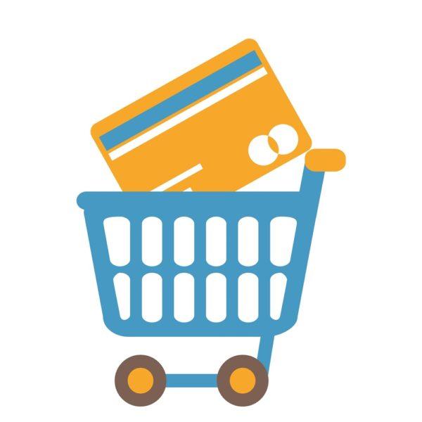 Tuotekuva maksutapojen asentaminen WooCommerce-verkkokauppaan, ostoskärry, jossa suuri maksukortti
