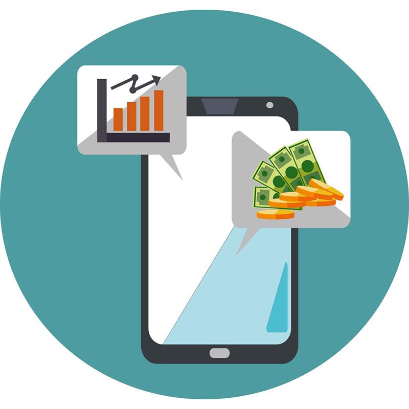 Kännykkä ja puhekuplia, joissa viittauksia rahaan ja myyntikäyriin