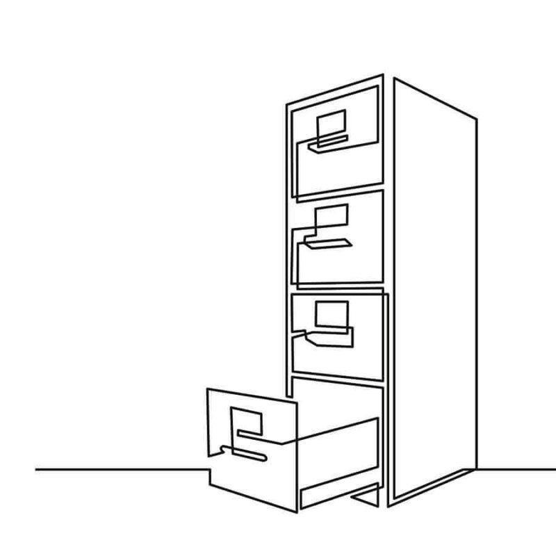 Tuotekuva muistilokero, piirroskuva arkistolaatikostosta